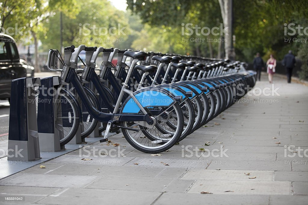 London Bike Hire Scheme Docking Station (XXXL) royalty-free stock photo