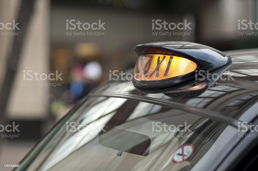 London black cab sign. stock photo
