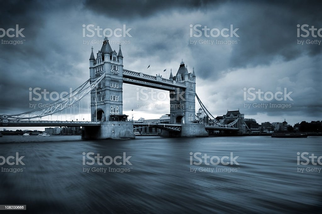 London bridge under stormy gray skies royalty-free stock photo