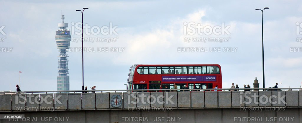 London Bridge with BT tower in London UK stock photo