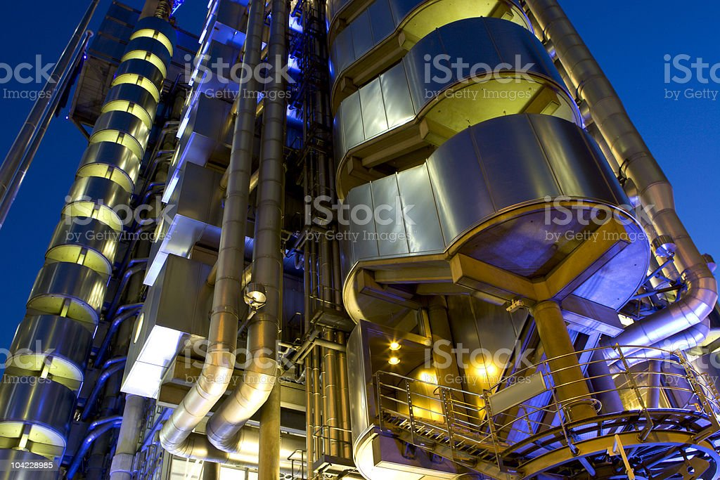London Building with Unique Lighting stock photo