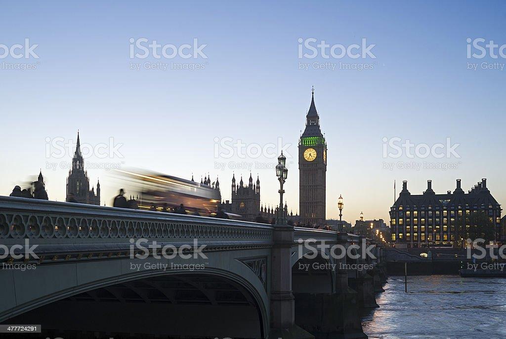 London bus and Big Ben at dusk stock photo