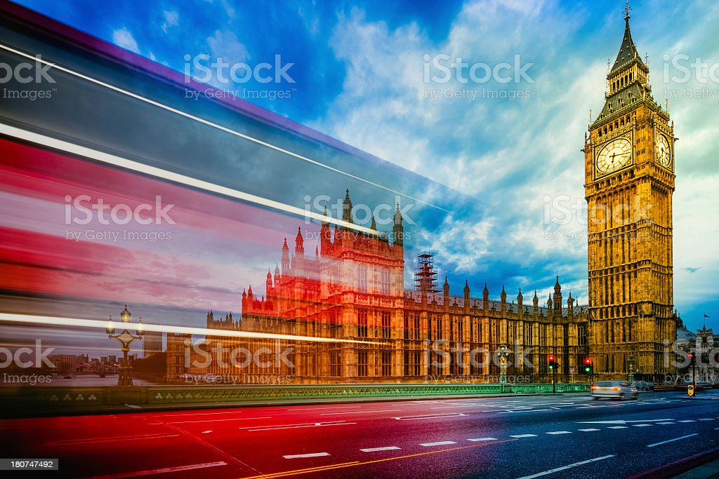London bus and Big Ben stock photo