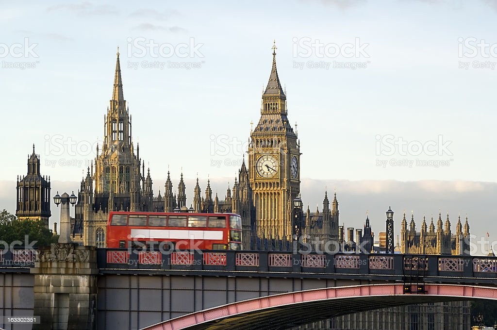 London bus and Houses of Parliament stock photo