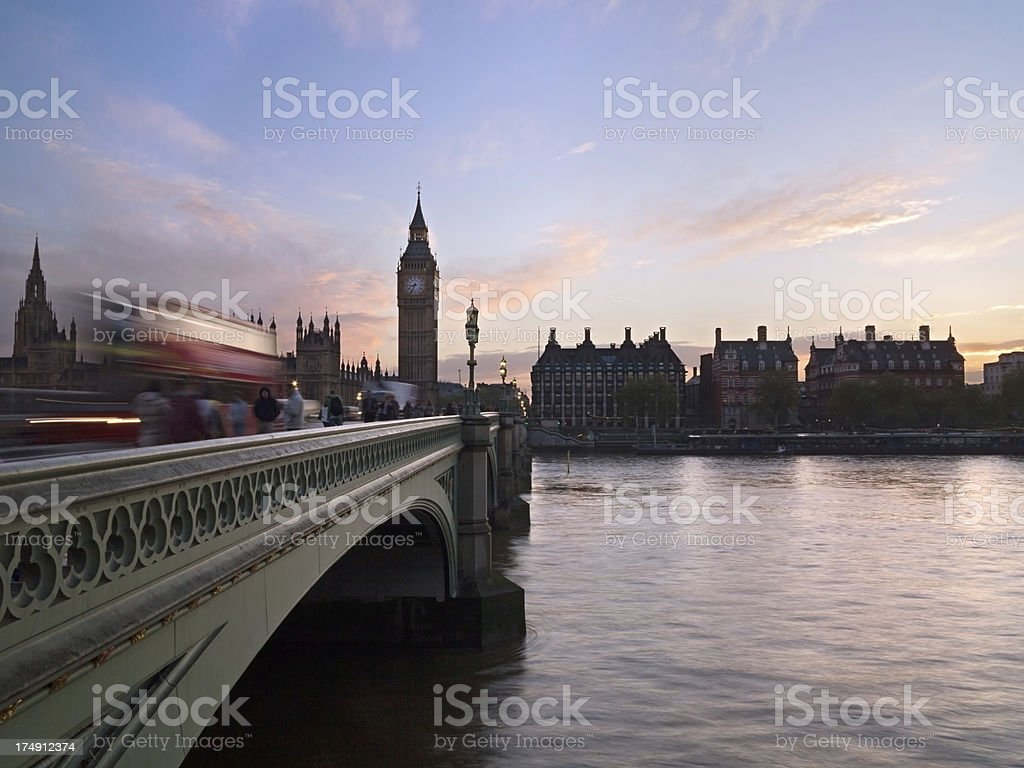 London bus and Houses of Parliament royalty-free stock photo