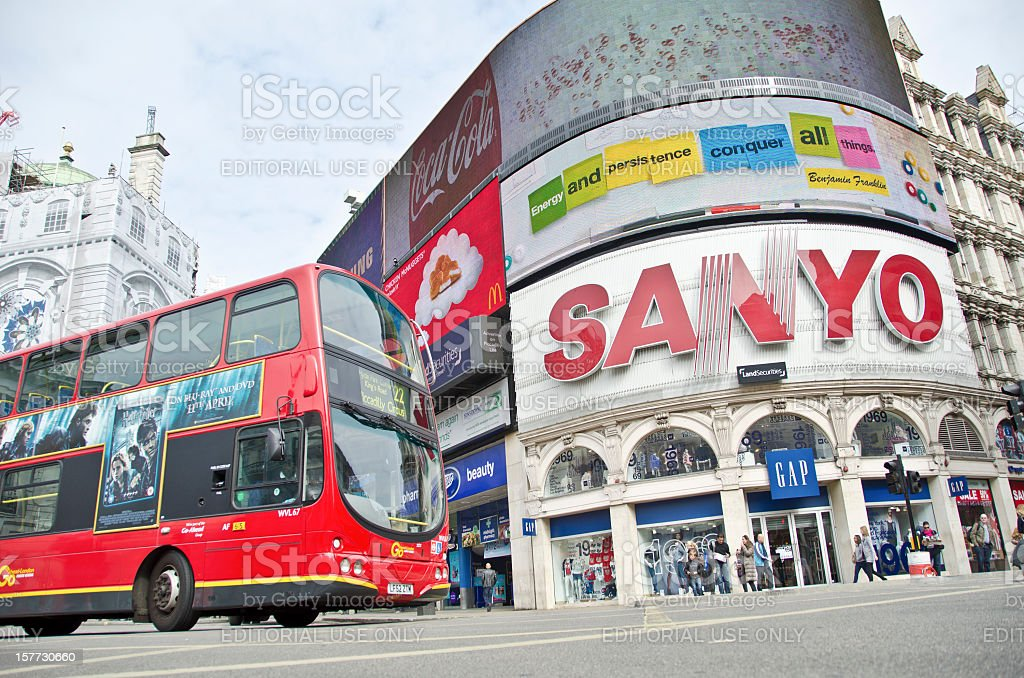 London Bus at Piccadilly Circus royalty-free stock photo