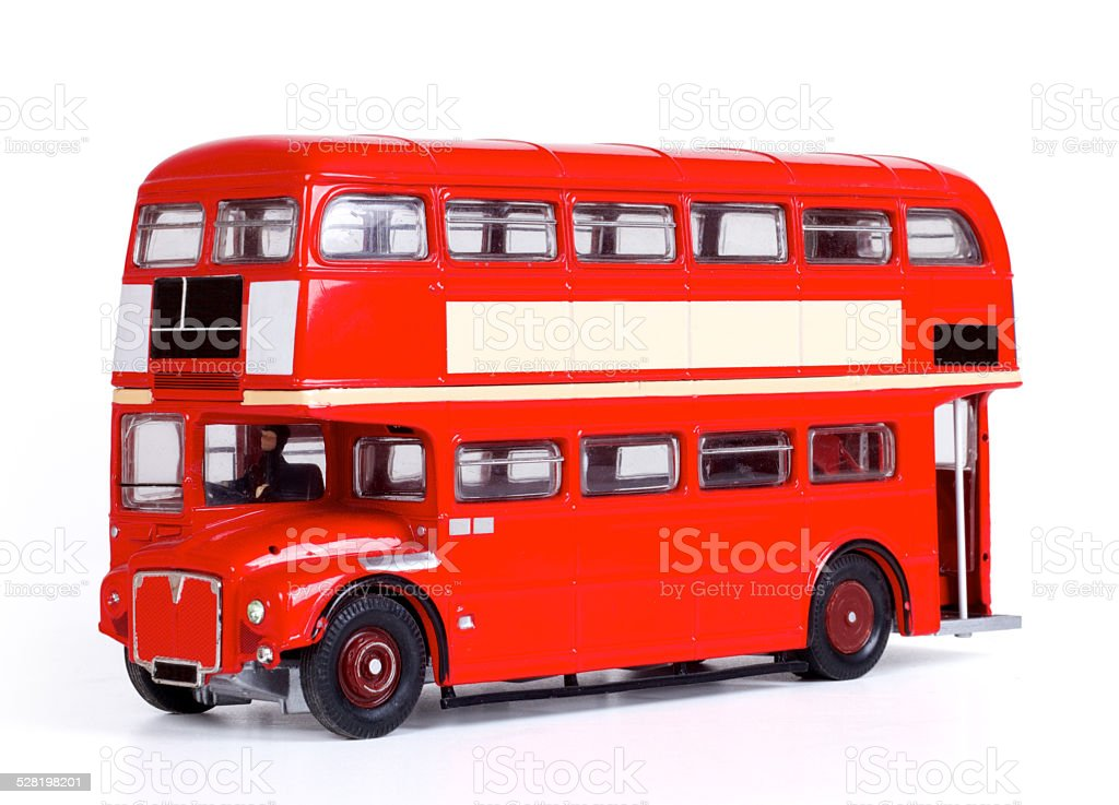 London Bus Isolated with Clipping Path stock photo