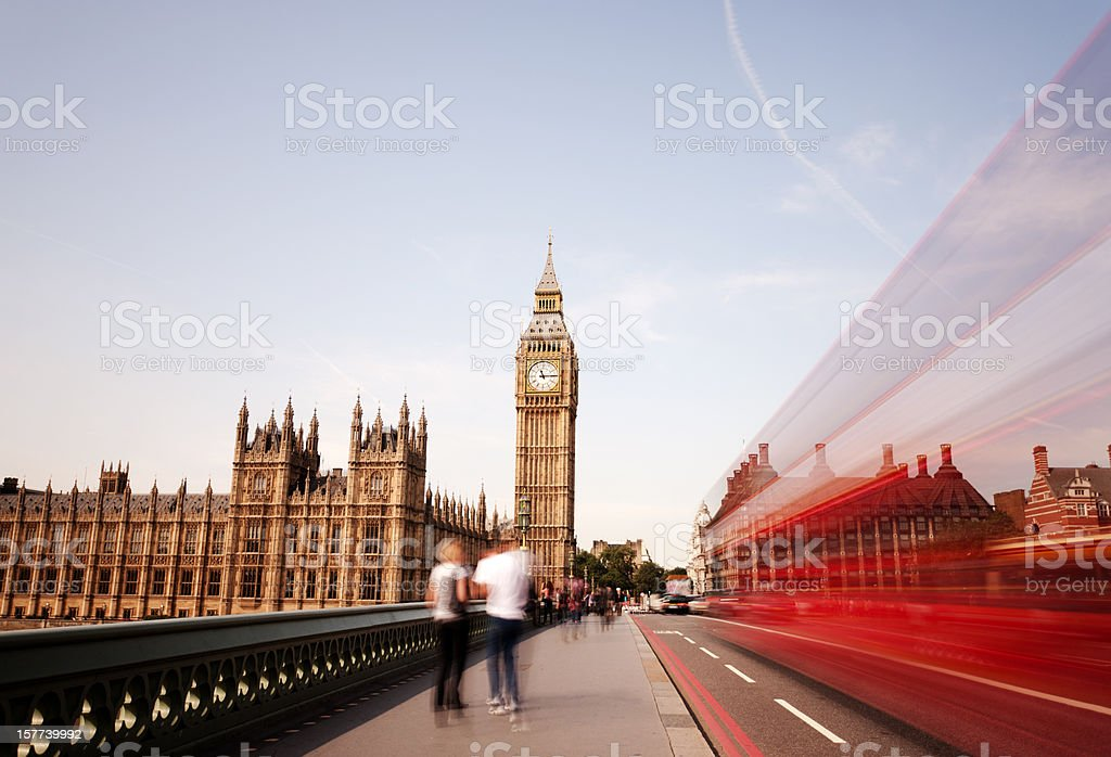 London bus on Westminster Bridge, Big Ben royalty-free stock photo