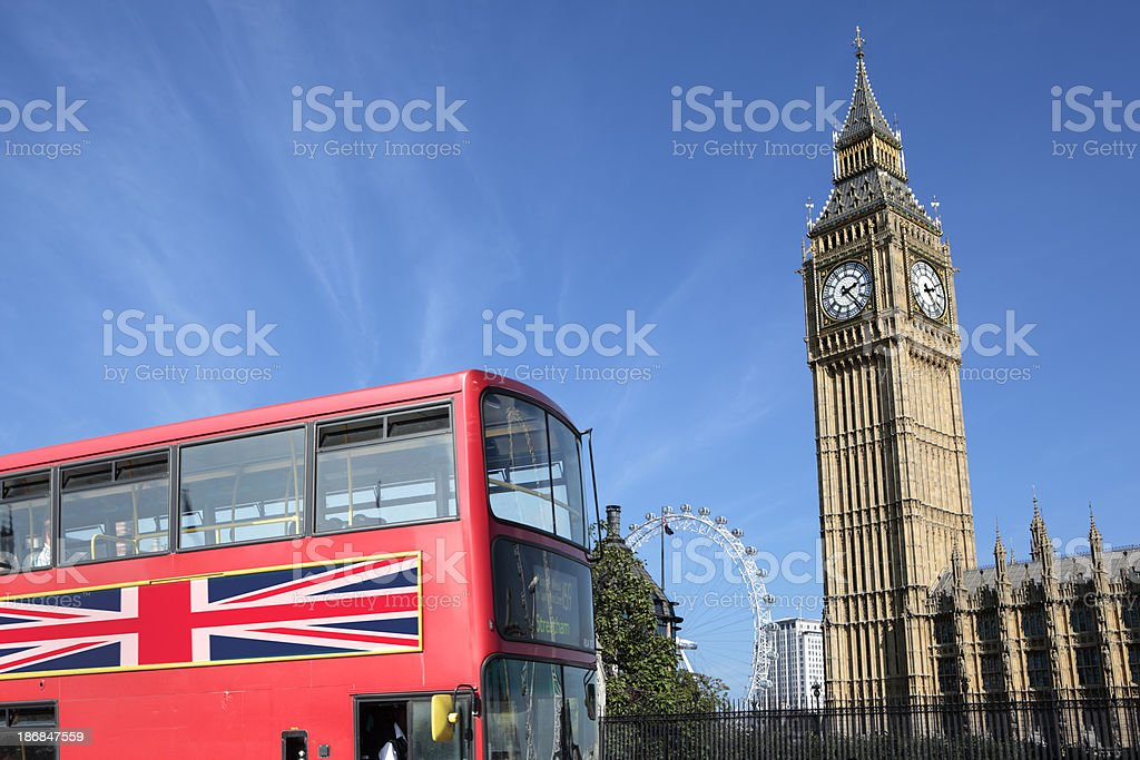 London Bus with Big Ben royalty-free stock photo