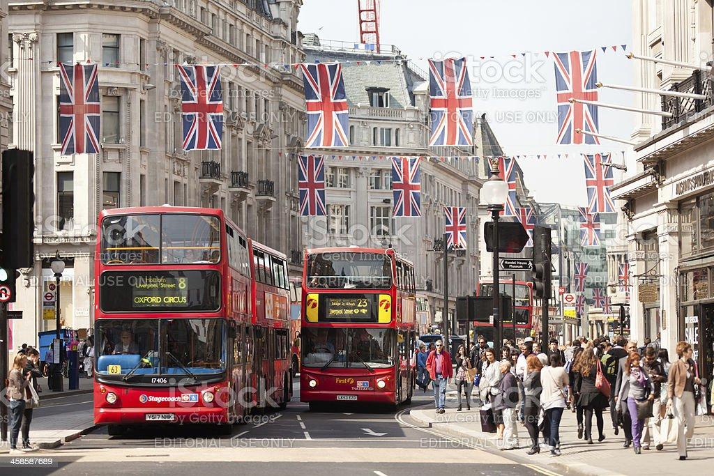 London Buses on the Regent Street stock photo