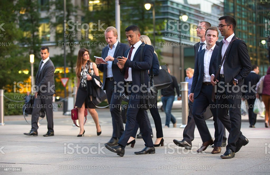 London, business people walking on street stock photo