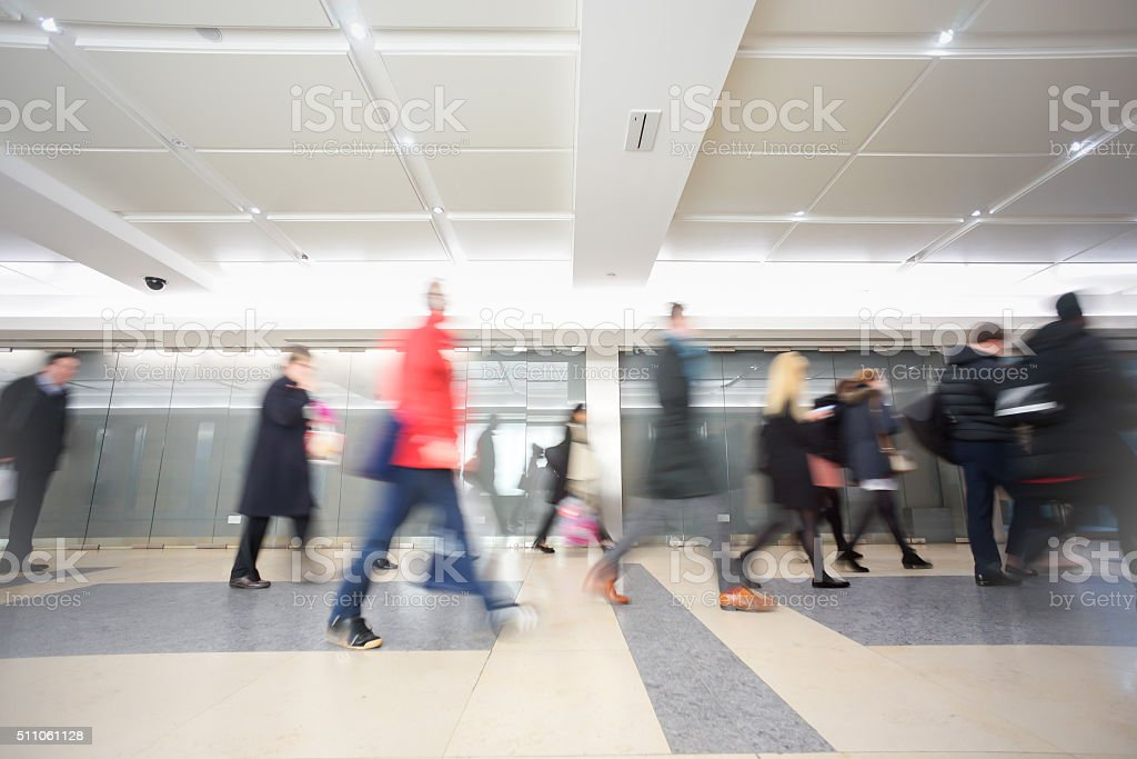 London businessman train tube station in rush hour stock photo