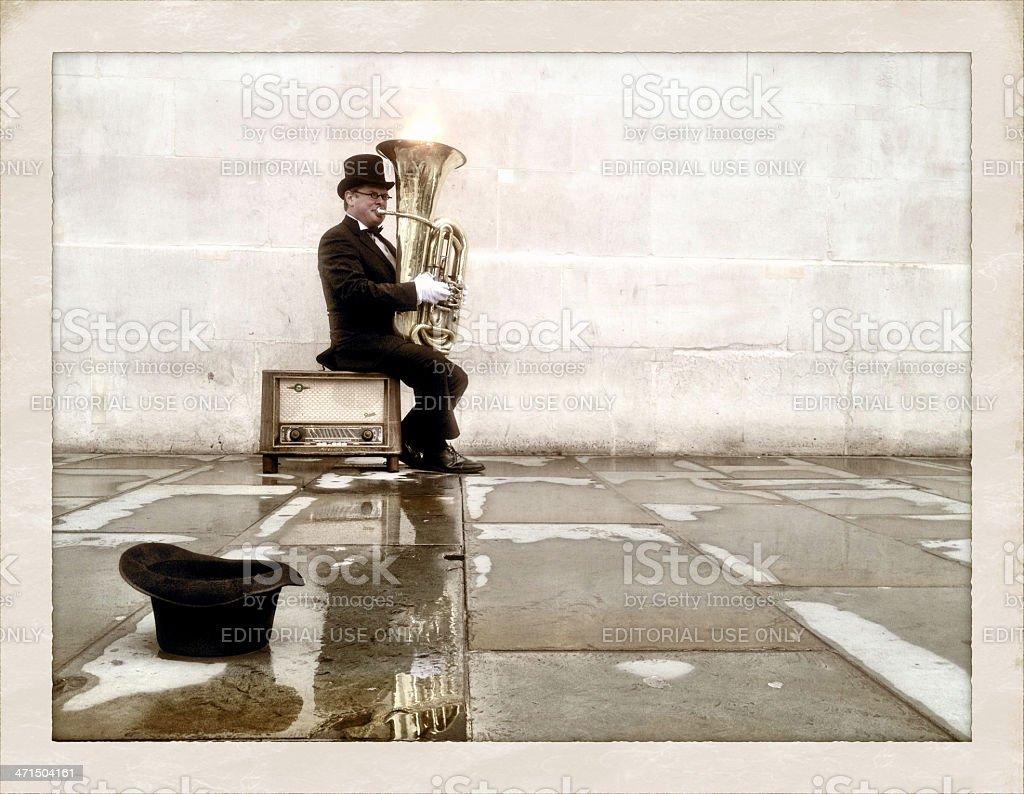 London busker playing tuba royalty-free stock photo
