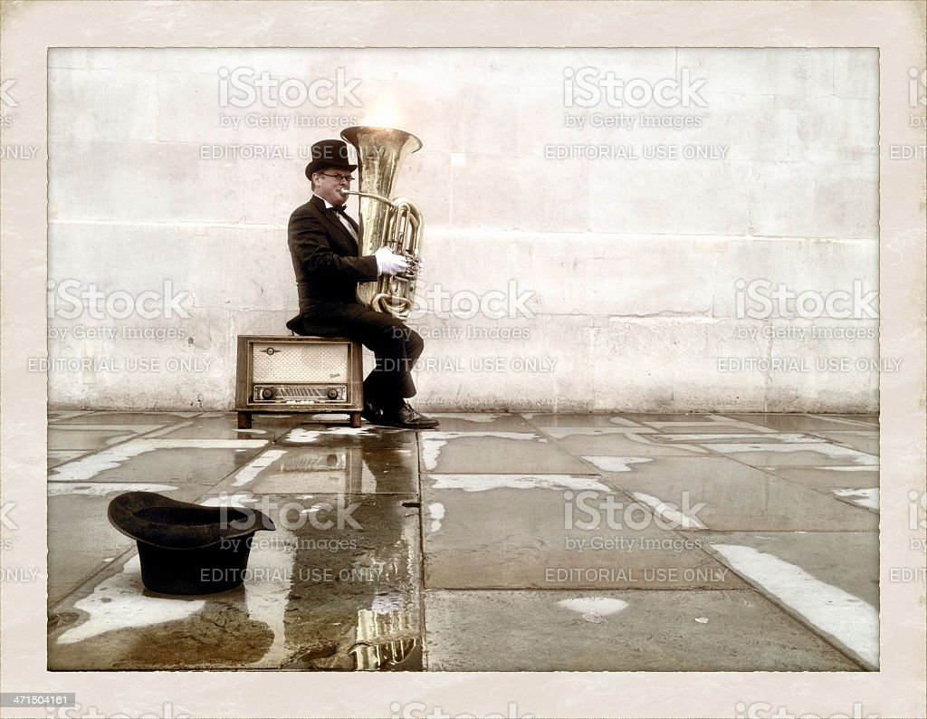 London busker playing tuba stock photo