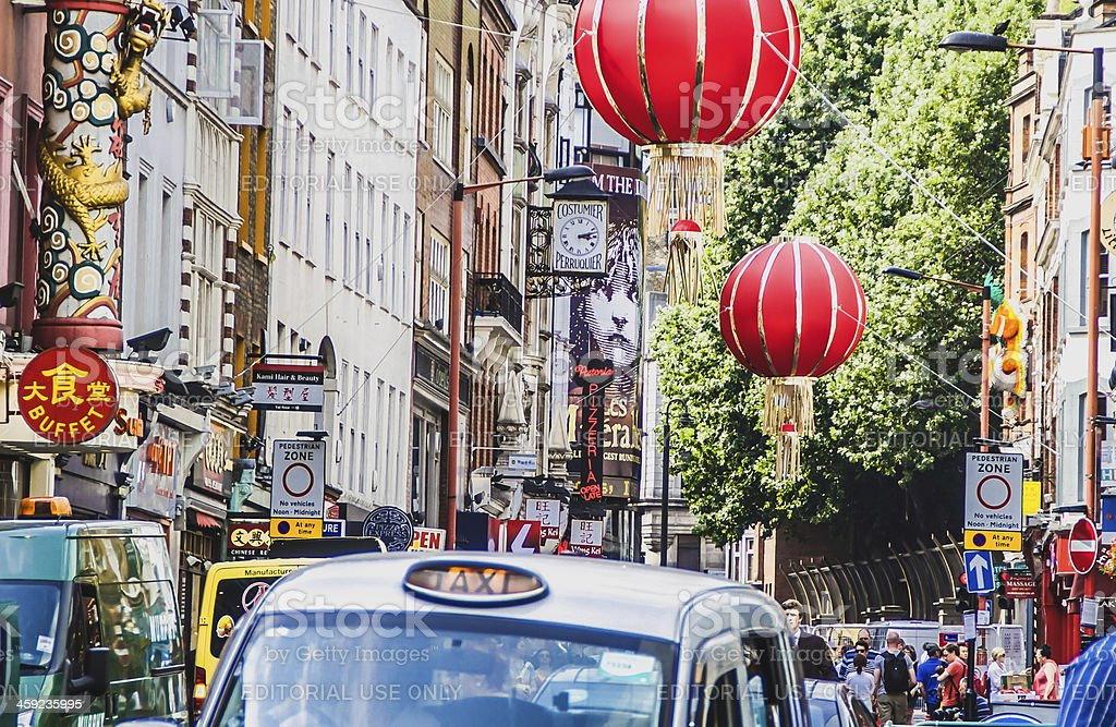 London cab in Chinatown stock photo
