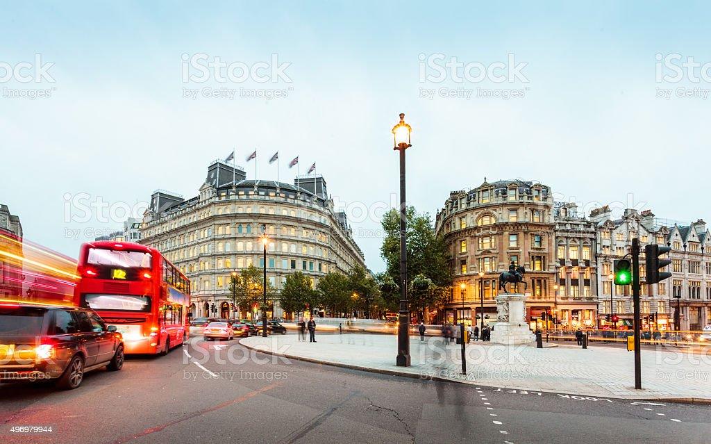 London, Charing Cross junction Whitehall evening traffic scene stock photo
