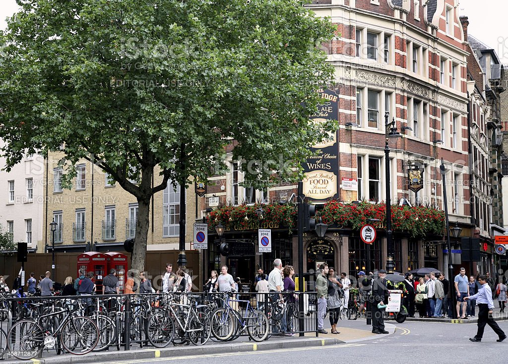 London, Charing Cross Road and Pub stock photo