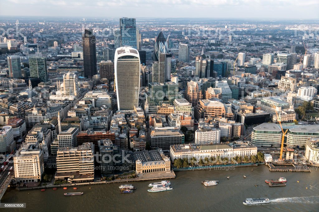 London City Aerial View stock photo
