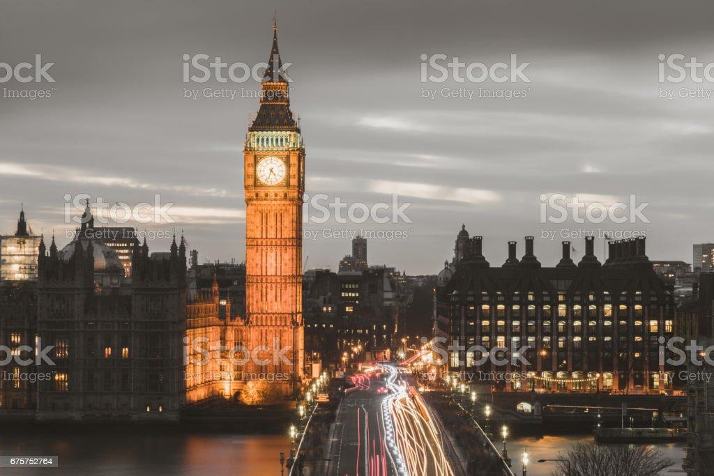 London City Big Ben at Night United Kingdom stock photo