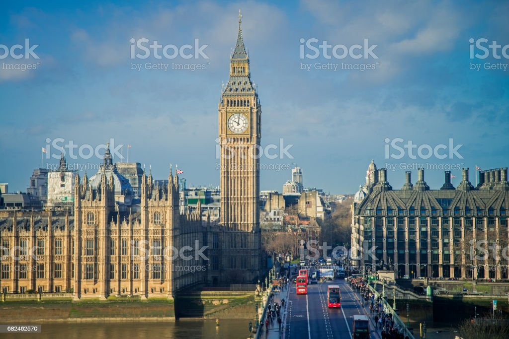London City Big Ben Morning Light United Kingdom stock photo