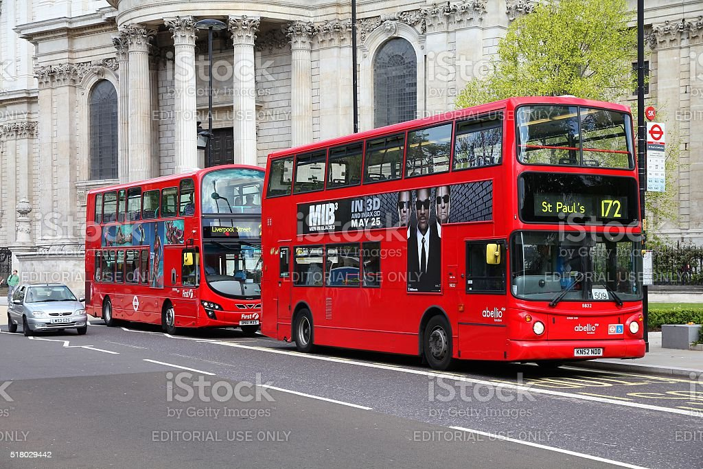 London city buses stock photo