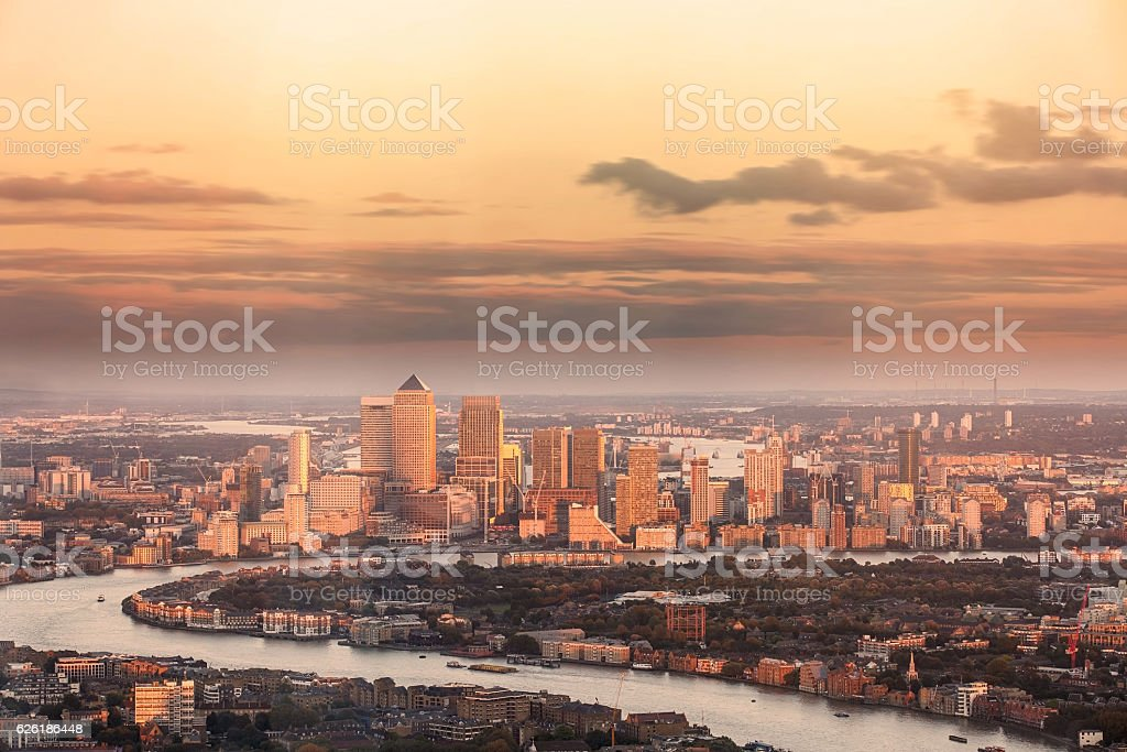 London City financial district Canary Wharf from above stock photo
