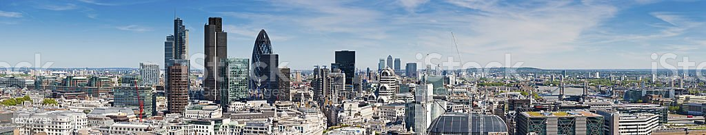 London City Financial District skyscrapers panorama stock photo