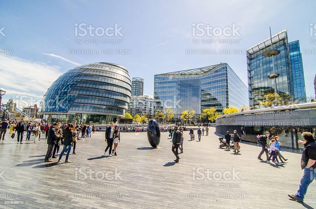 London city hall and More London Development on Thames promenade stock photo