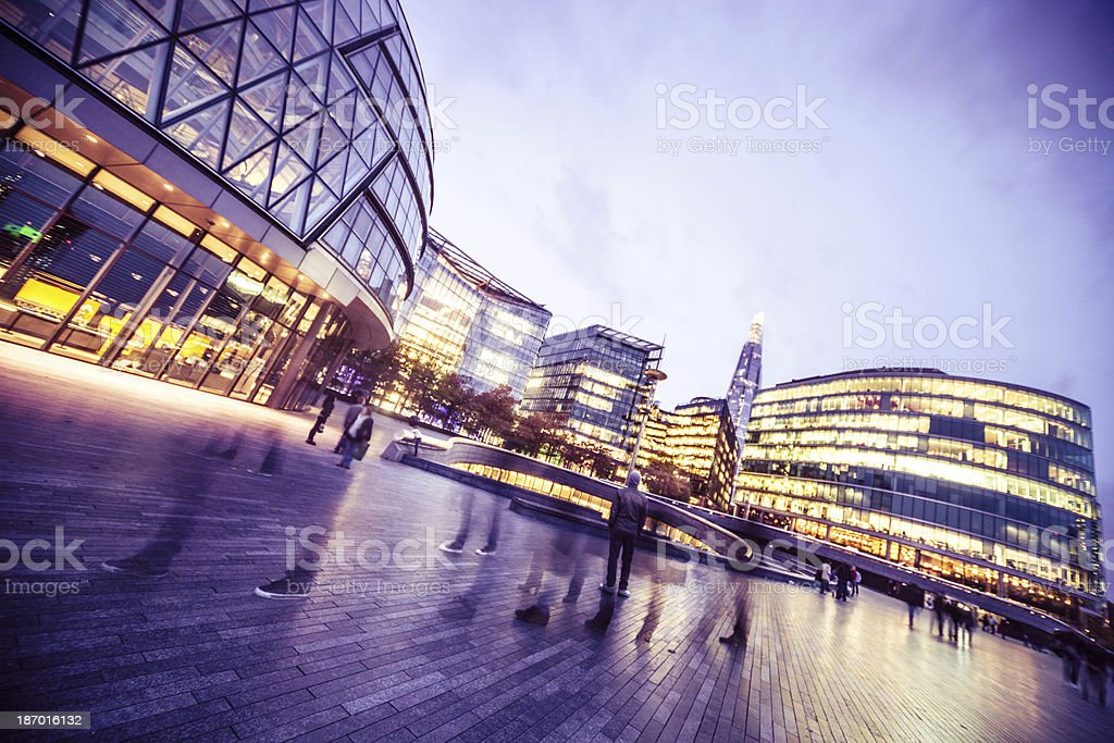 London City Hall and office buildings by night stock photo
