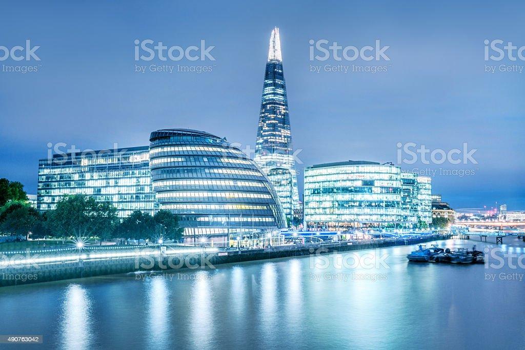 London City Hall and Shard skyscraper at dusk stock photo