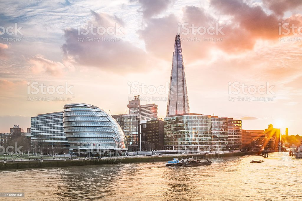 London City Hall (Rosed-Gold Sunset Shot) stock photo