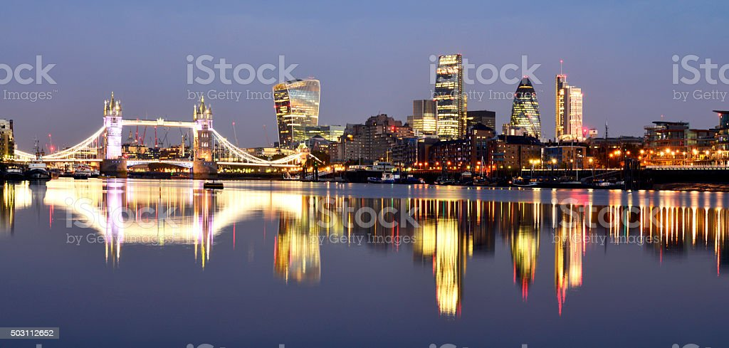 London city lights and River Thames stock photo