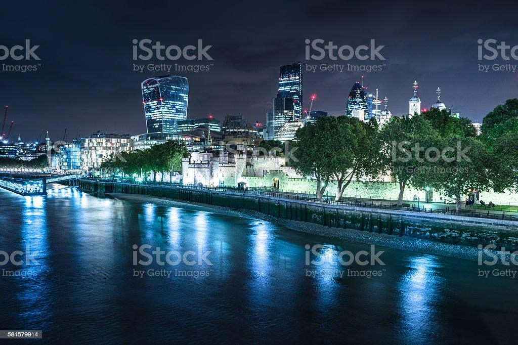london city night skyline stock photo