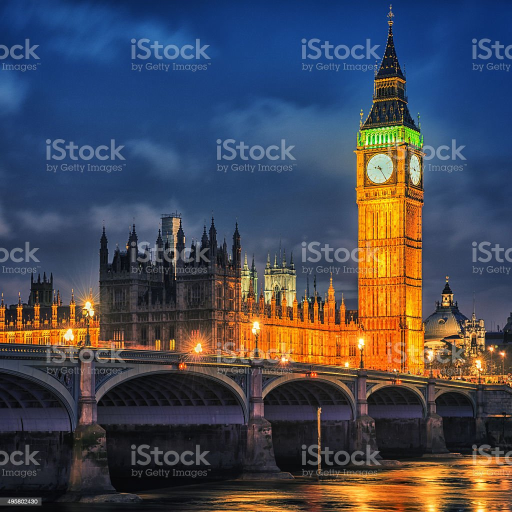London - city of westminster and river thames stock photo