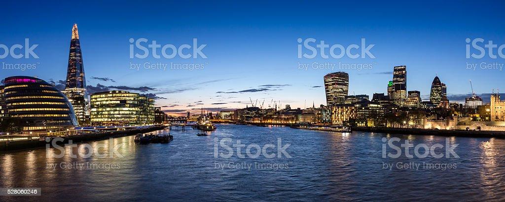 London City skyline at dusk stock photo