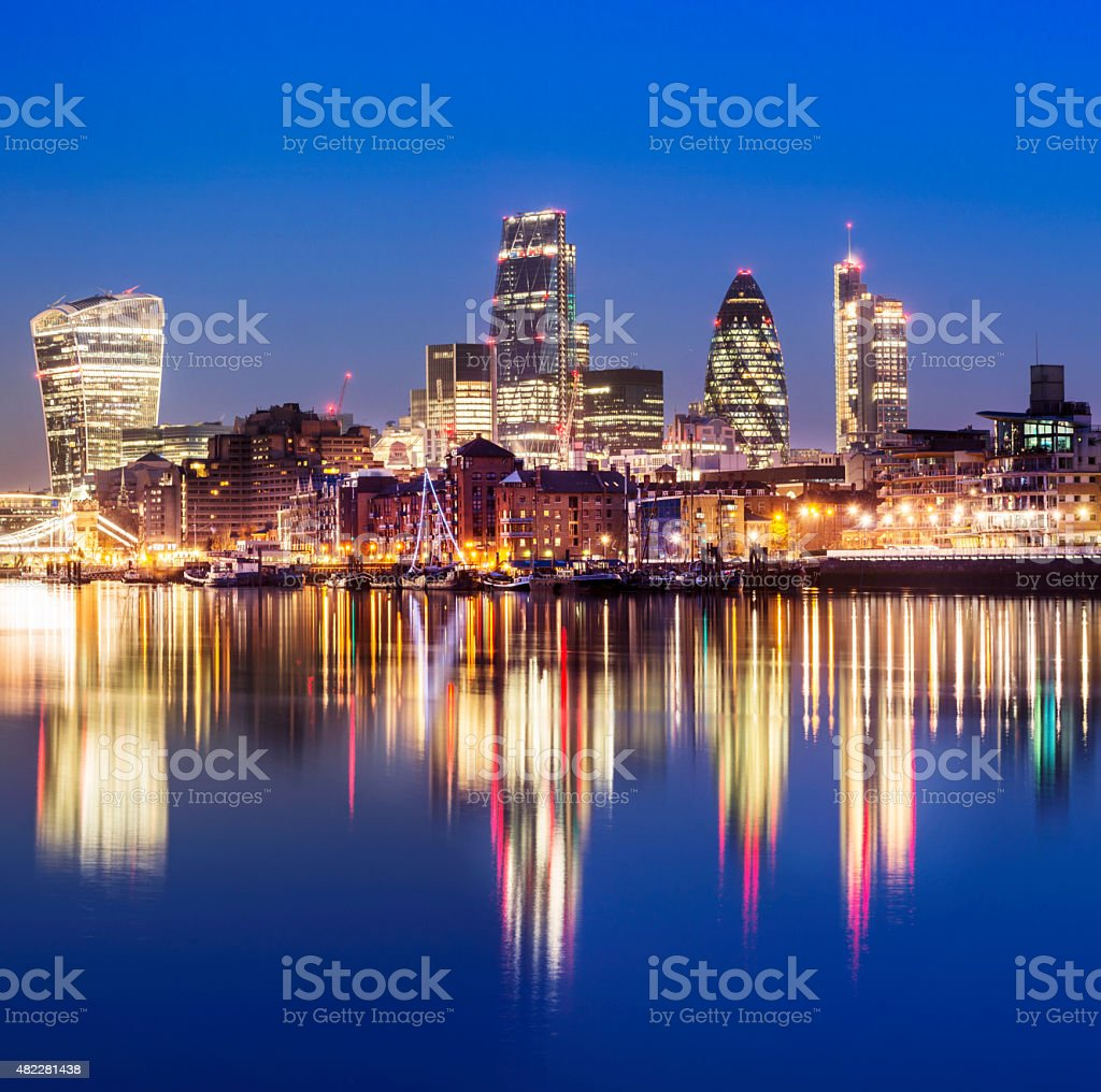London City Skyline at Twilight UK stock photo