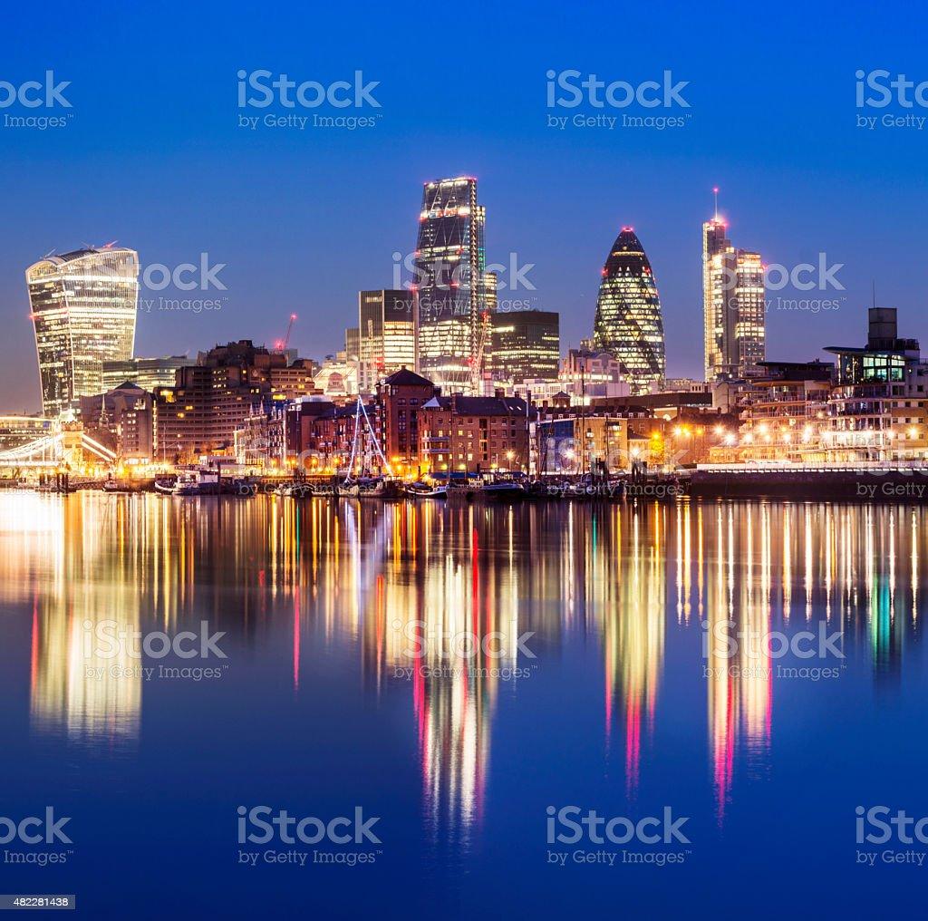 London City Skyline at Twilight UK stock photo