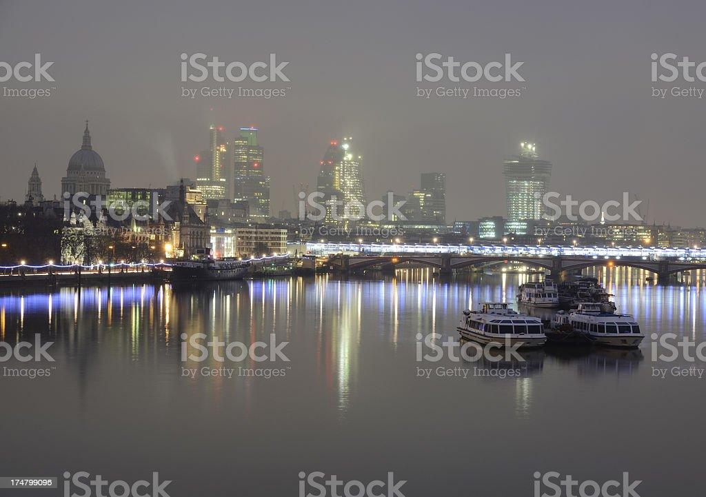 London city skyline in the fog, royalty-free stock photo