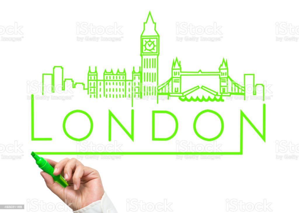 London City Skyline with Green Marker Drawing stock photo