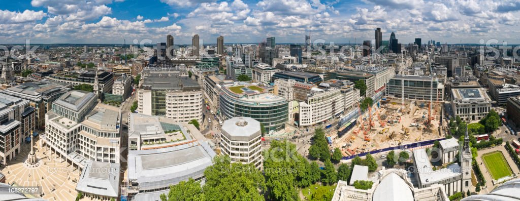 London City skyscrapers downtown rooftops panorama royalty-free stock photo