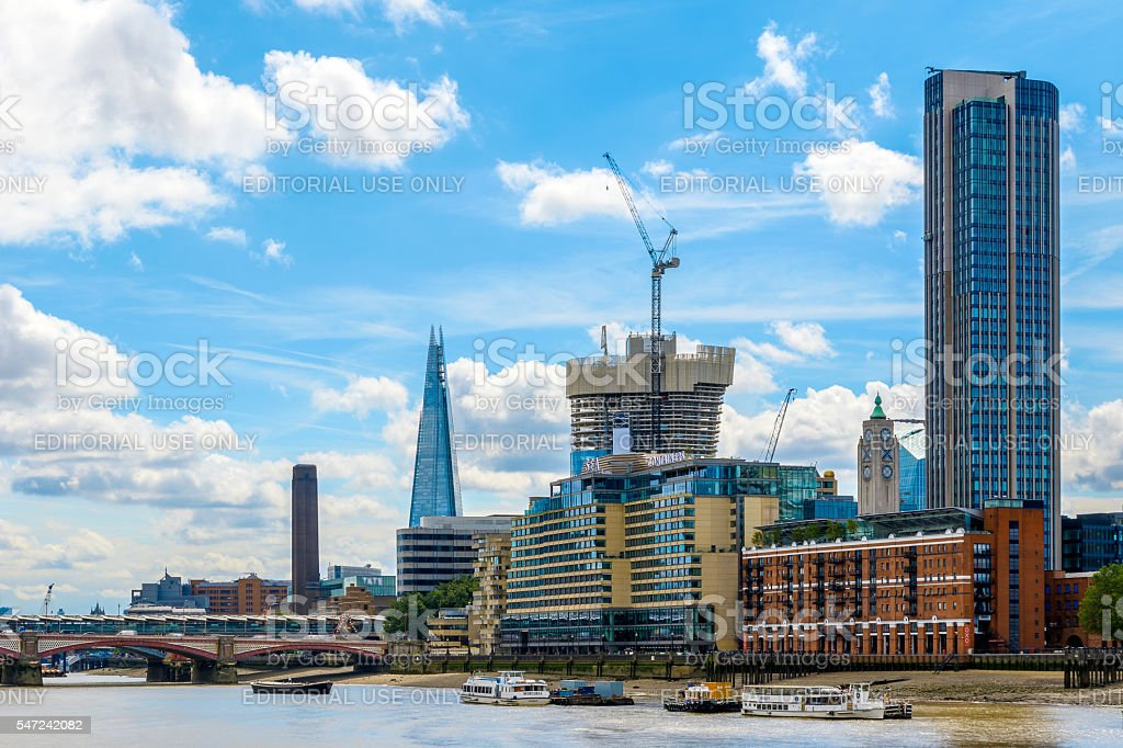 London Cityscape Along River Thames stock photo