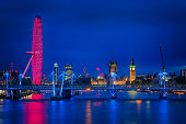 London cityscape along river Thames with Big Ben at dusk