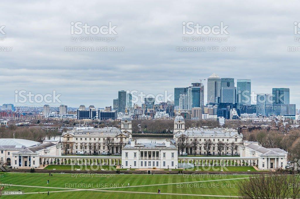 London Cityscape and Greenwich stock photo