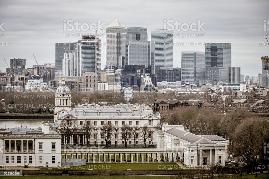 London Cityscape and Greenwich stock photo