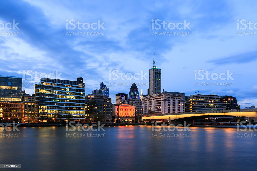 London Cityscape and Millenium Bridge at Sunset, United Kingdom royalty-free stock photo
