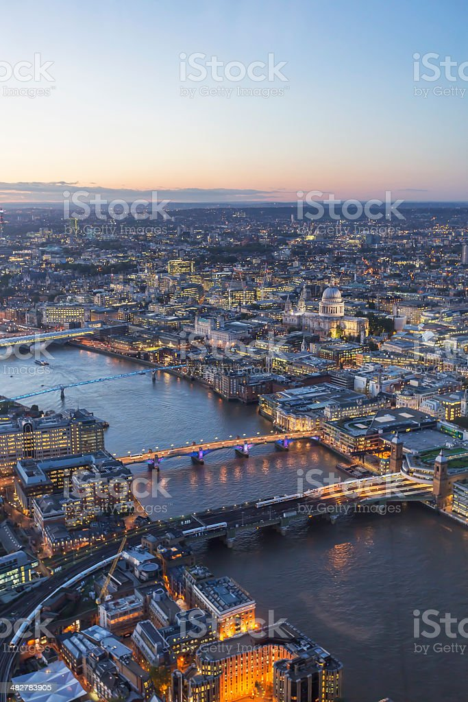 London cityscape at dusk stock photo
