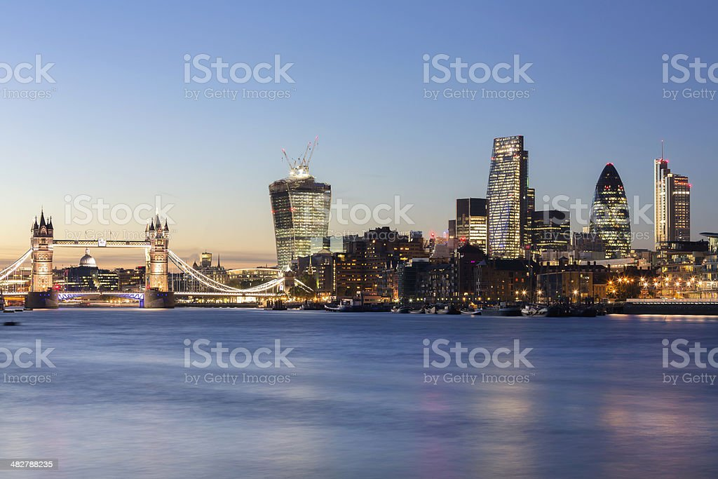 London Cityscape at dusk stock photo
