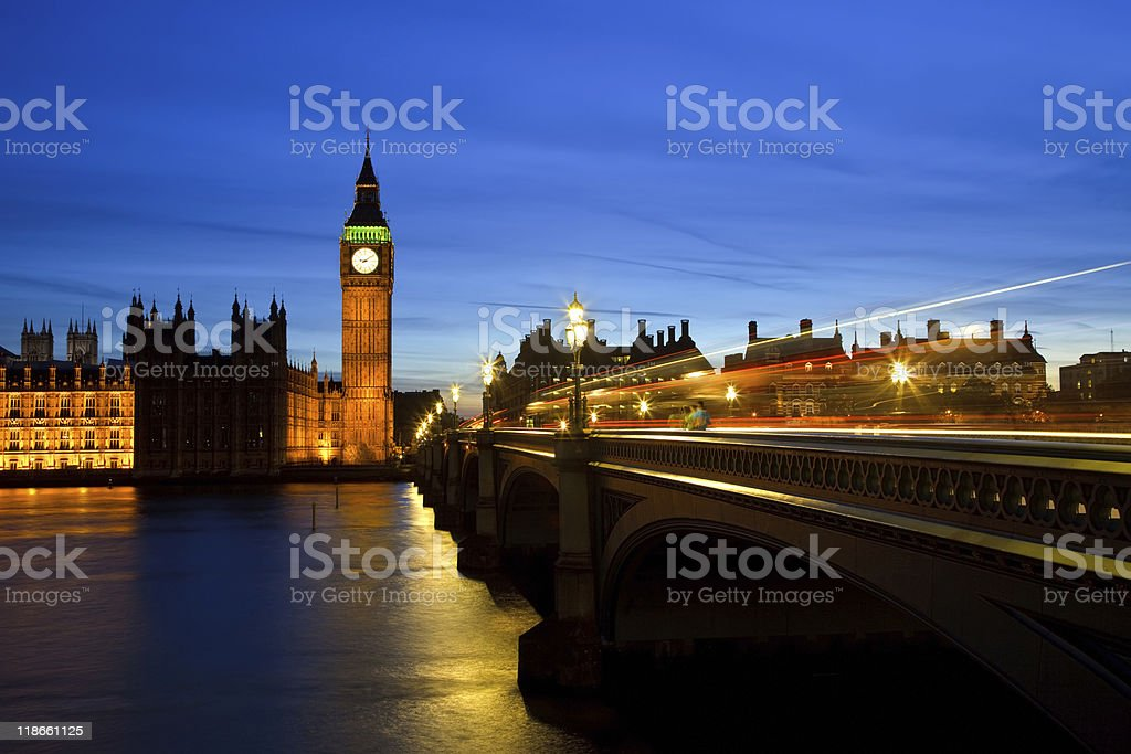 London cityscape at night featuring Big Ben royalty-free stock photo