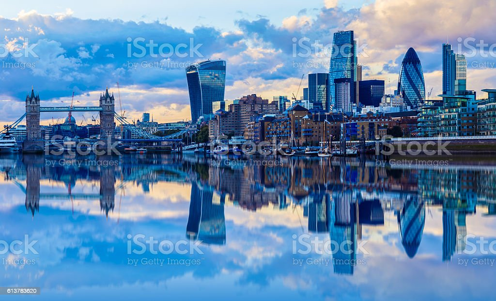 London Cityscape at Sunset stock photo