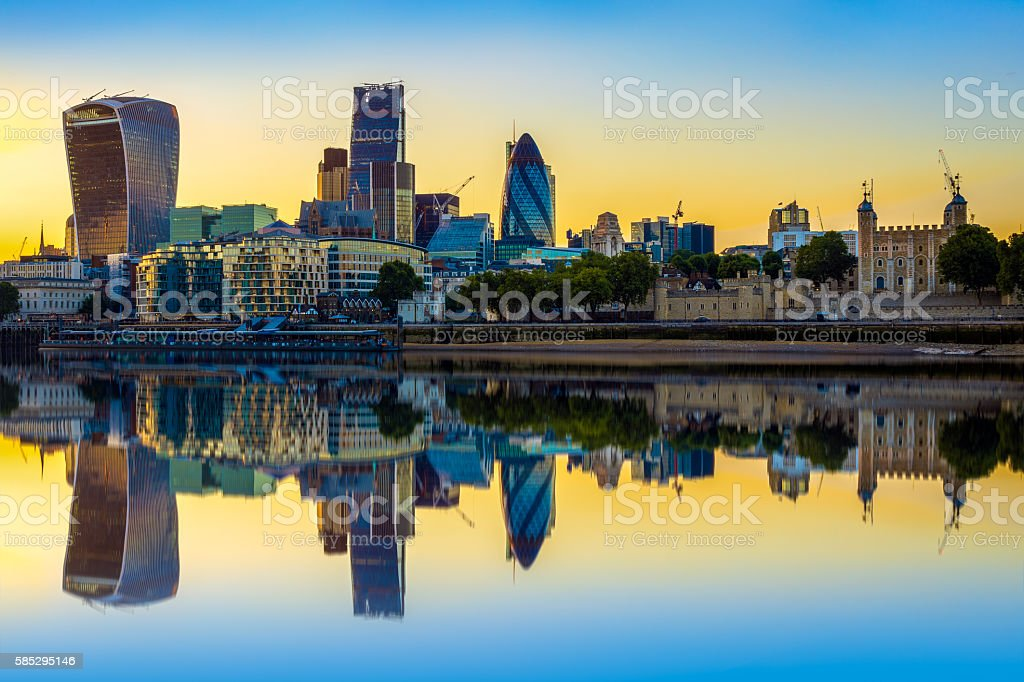 London Cityscape at Sunset with Reflection stock photo